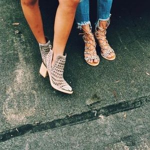 Jeffery Campbell taupe cut out booties